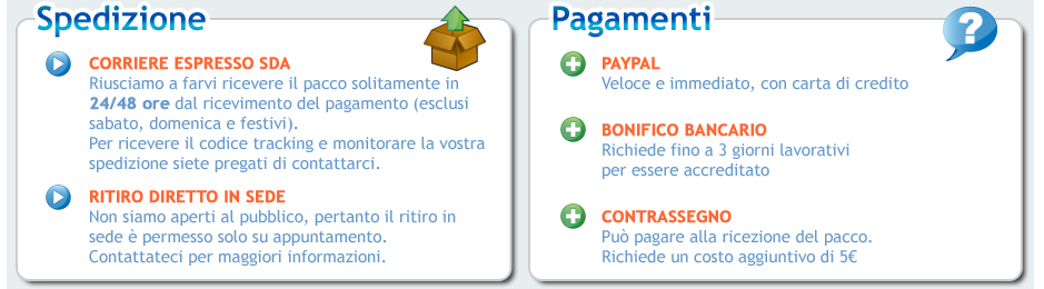 Informazioni sulla spedizione e sul pagamento dei nostri prodotti